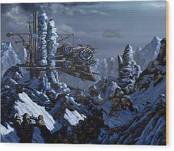 Wood Print featuring the digital art Battle Of Eagle's Peak by Curtiss Shaffer