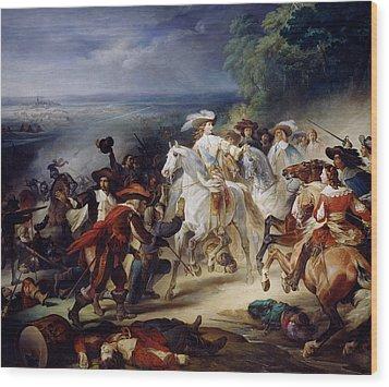 Battle Of Rocroy Wood Print by Francois Joseph Heim