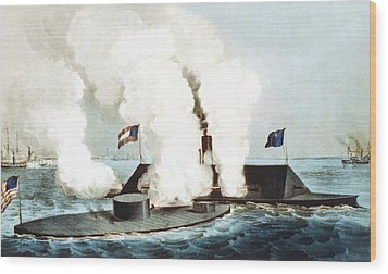 Battle Of The Monitor And Merrimack Wood Print by War Is Hell Store