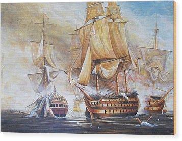 Battle Of Trafalger Wood Print