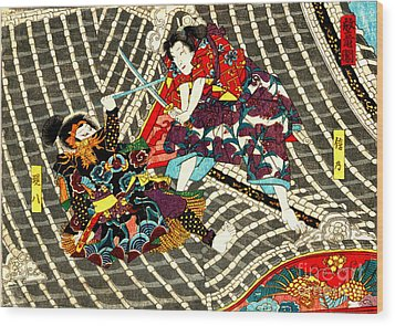 Battle On Horyu Tower 1850 Wood Print by Padre Art