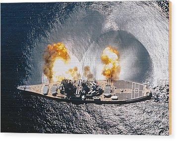 Battleship Iowa Firing All Guns Wood Print by Stocktrek Images