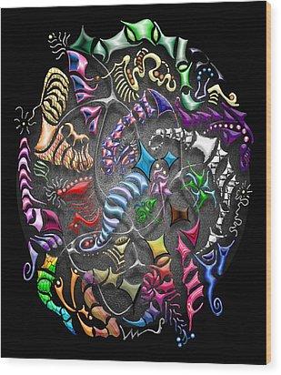 Battling Kites -- Black Wood Print by Mark Sellers