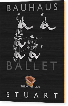 Bauhaus Ballet Black Wood Print by Charles Stuart