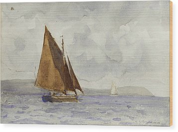 Wood Print featuring the painting Bawley Running Up The Coast by Henry Scott Tuke
