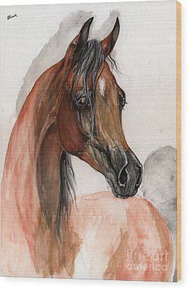 Bay Arabian Horse Watercolor Portrait Wood Print by Angel  Tarantella