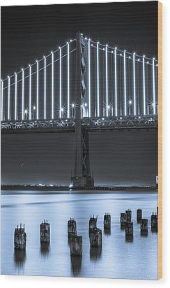 Bay Bridge 2 In Blue Wood Print