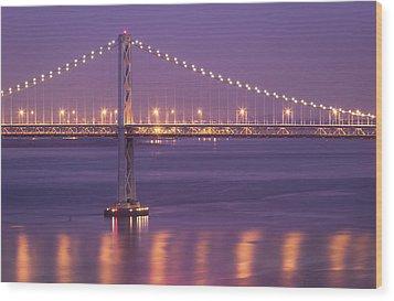 Bay Bridge At Dusk Wood Print by Sean Duan