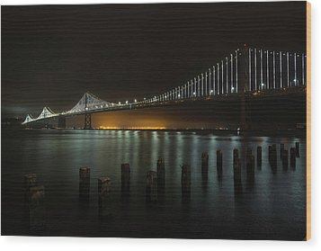 Bay Bridge At Night Wood Print