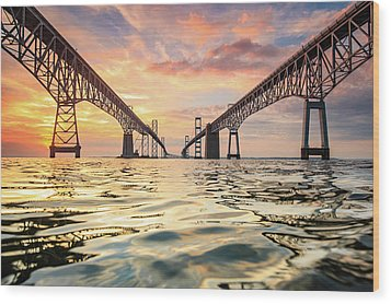 Bay Bridge Impression Wood Print by Jennifer Casey