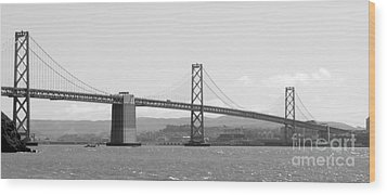 Bay Bridge In Black And White Wood Print by Carol Groenen
