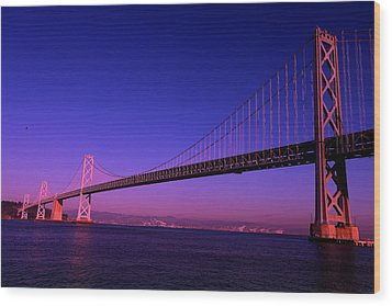 Bay Bridge Sunset Wood Print