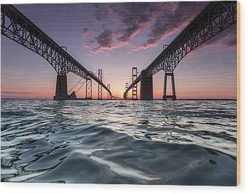 Bay Bridge Twilight Wood Print by Jennifer Casey