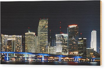 Bay Front Miami Skyline Wood Print by Gary Dean Mercer Clark
