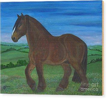 Bay Horse Wood Print by Anna Folkartanna Maciejewska-Dyba