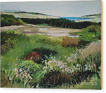 Wood Print featuring the painting Bay Meadow by Diane Ursin