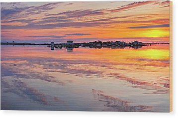 Wood Print featuring the photograph Bay Sunrise by Mike Lang