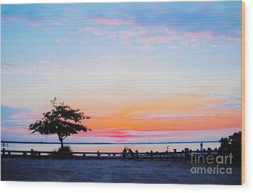 Wood Print featuring the photograph Bay Sunset by Susan Carella