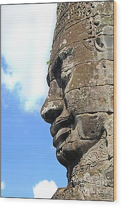Bayon Face Wood Print by Marion Galt