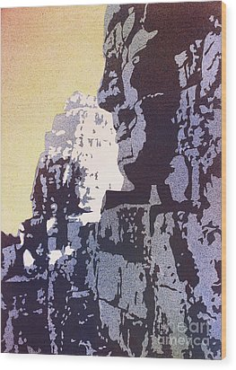 Wood Print featuring the painting Bayon Temple- Angkor Wat, Cambodia by Ryan Fox