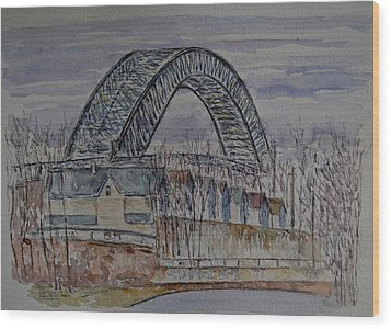 Bayonne Bridge Wood Print by Anthony Butera