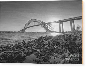 Bayonne Bridge Black And White Wood Print by Michael Ver Sprill