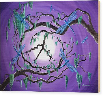 Bayou Peace Tree Wood Print by Laura Iverson