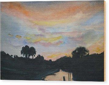 Bayou Sunset Wood Print