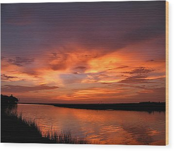 Bayou Sunset Wood Print by Brian Wright