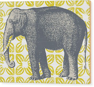 Bazaar Elephant Yellow Wood Print by Thomas Paul