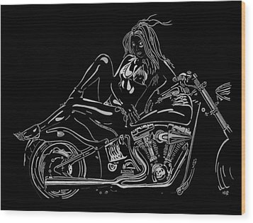 Bb Five Wood Print by Mayhem Mediums