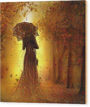 Be My Autumn Wood Print by Amalia Iuliana Chitulescu