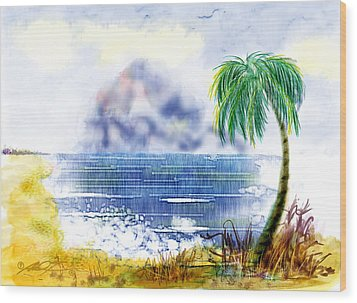 Beach And Palm Tree Of D.r.  Wood Print