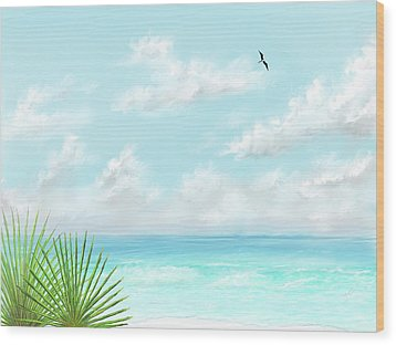 Wood Print featuring the digital art Beach And Palms by Darren Cannell