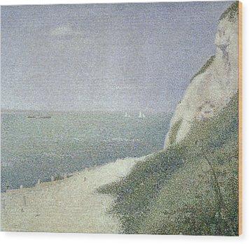 Beach At Bas Butin Wood Print by Georges Pierre Seurat