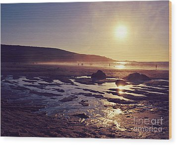 Wood Print featuring the photograph Beach At Sunset by Lyn Randle