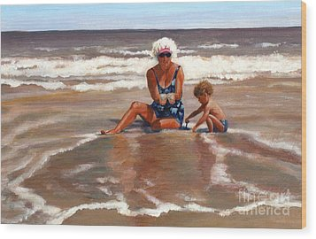 Beach Babes Wood Print by Pat Burns