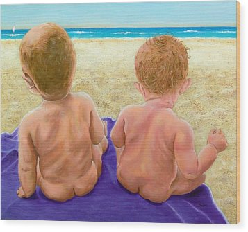 Beach Babies Wood Print by Susan DeLain