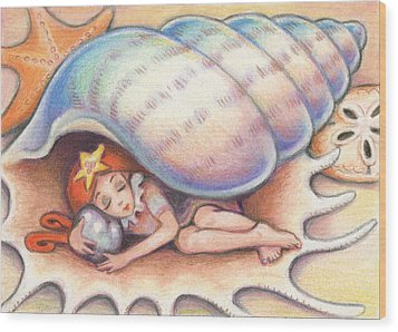 Beach Babys Treasure Wood Print by Amy S Turner