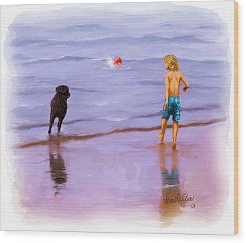 Wood Print featuring the painting Beach Ball Race by Sena Wilson