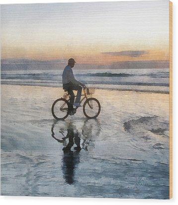 Wood Print featuring the digital art Beach Biker by Francesa Miller