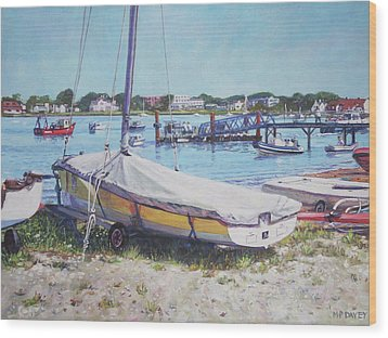 Wood Print featuring the painting Beach Boat Under Cover by Martin Davey