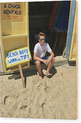 Beach Boys Work For Tips Wood Print