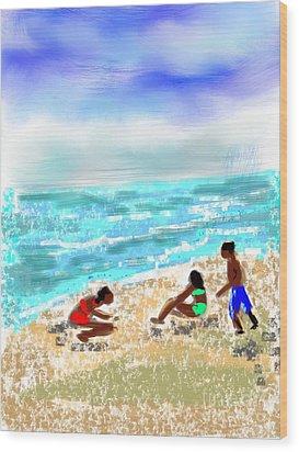 Wood Print featuring the digital art Beach Buddies  by Elaine Lanoue