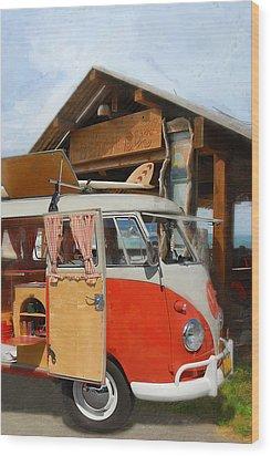 Beach Bus Wood Print by Ron Regalado