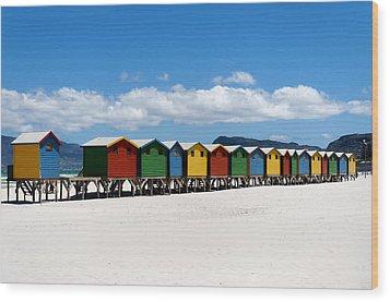 Beach Cabins  Wood Print