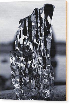 Wood Print featuring the photograph Beach Chair 2 Bw by Sami Tiainen