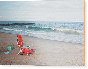Wood Print featuring the photograph Beach Chair By The Sea by Ann Murphy