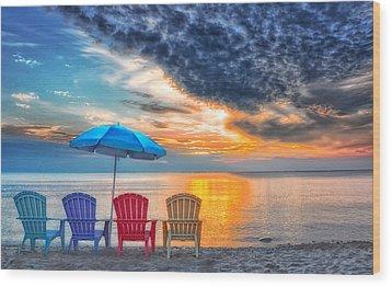 Beach Chairs Wood Print by Brian Mollenkopf