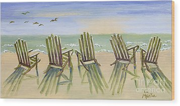 Beach Chairs Relaxing Wood Print by Vic  Mastis